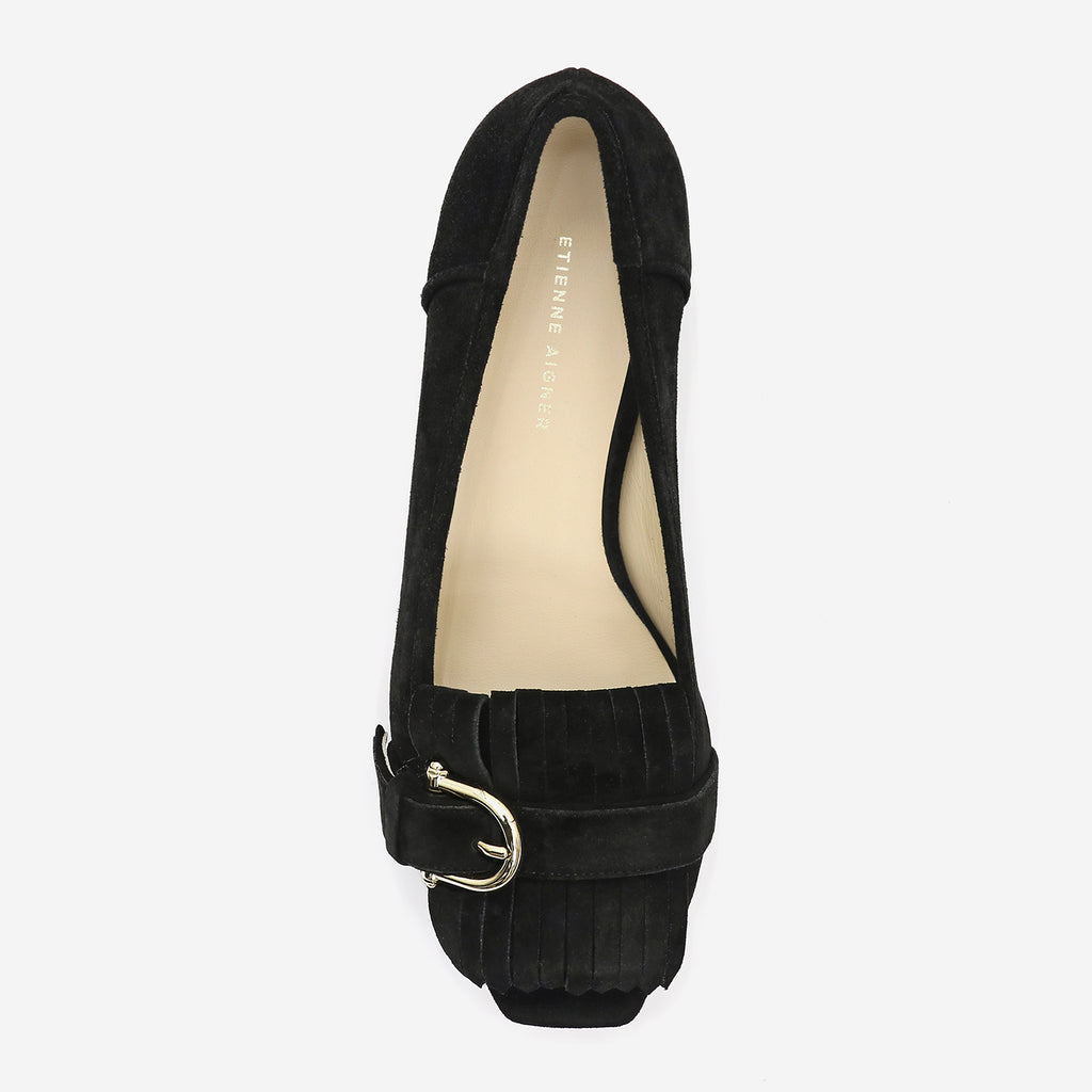 etienne aigner edith kiltie peep toe loafer in black suede