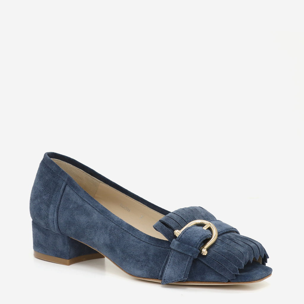 etienne aigner edith kiltie peep toe loafer in indigo blue suede