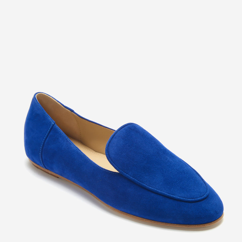 etienne aigner camille flat almond toe loafer in indigo blue suede