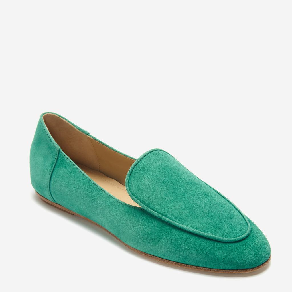 etienne aigner camille flat almond toe loafer in malachite green suede