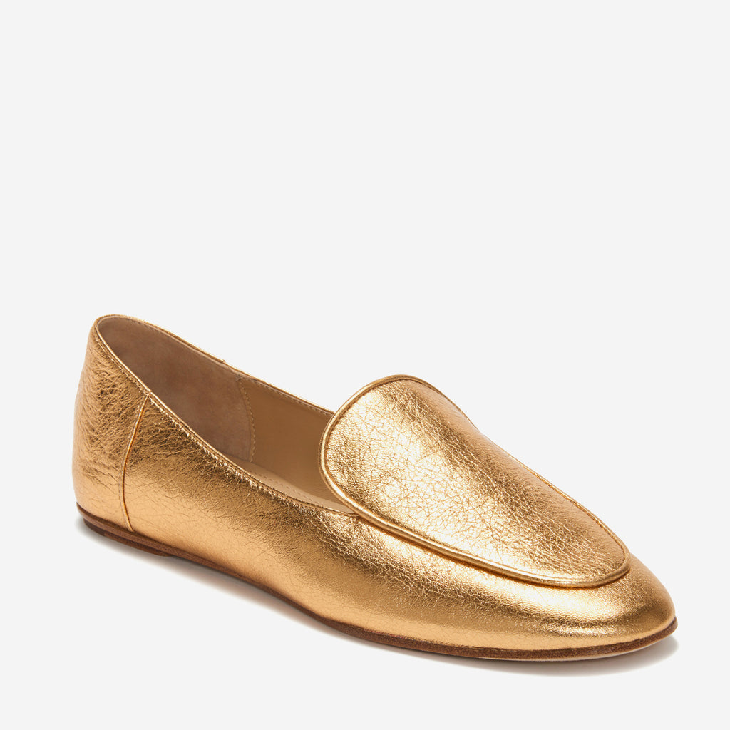 etienne aigner camille flat almond toe loafer in gold nappa leather