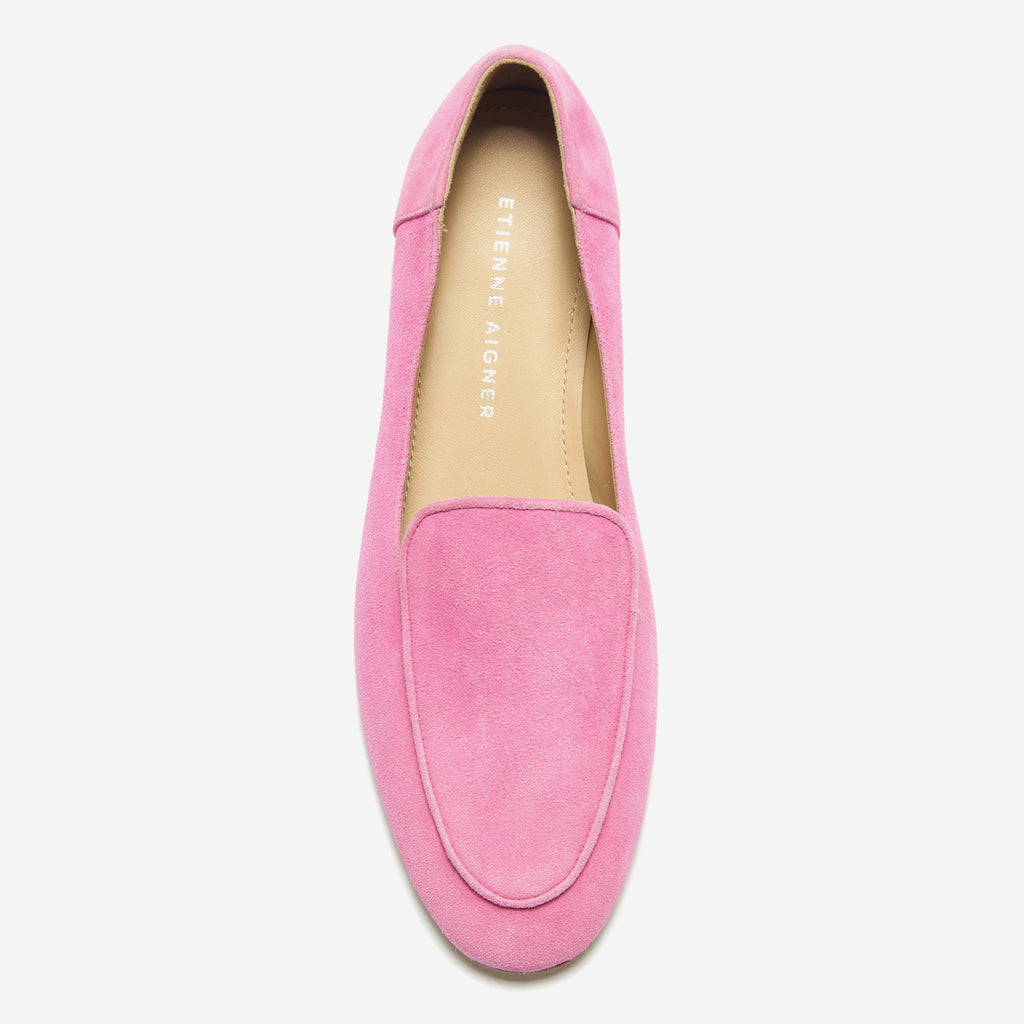 etienne aigner camille flat almond toe loafer in rose pink suede