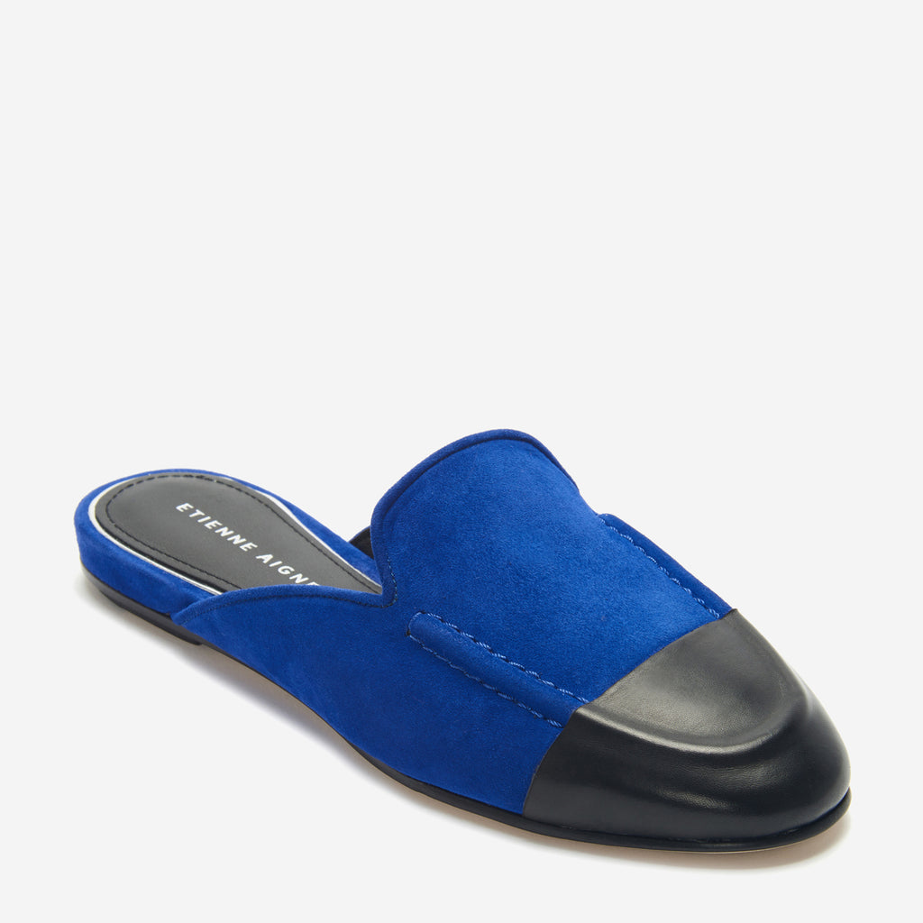 etienne aigner cora flat mule loafer in indigo blue suede with black nappa leather wrapped toe cap