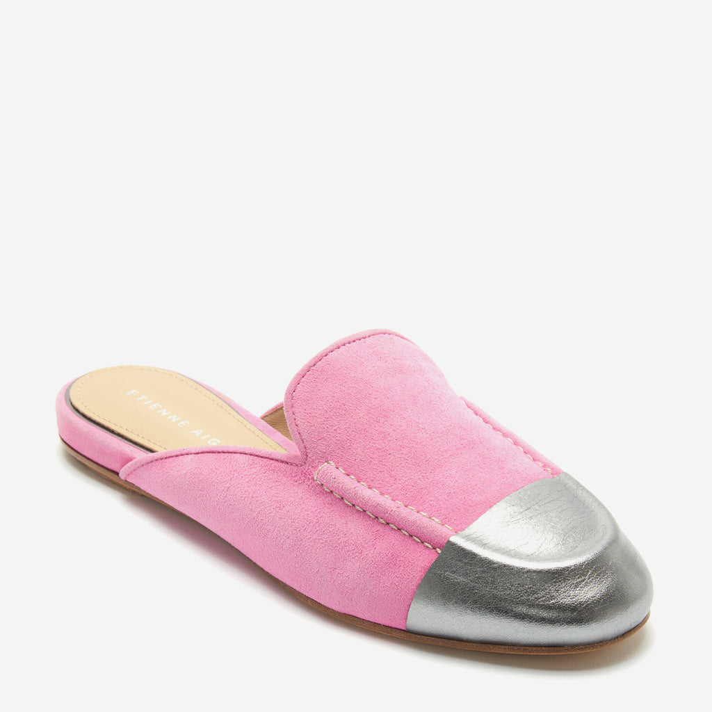etienne aigner cora flat mule loafer in rose pink suede with metallic silver nappa leather wrapped toe cap
