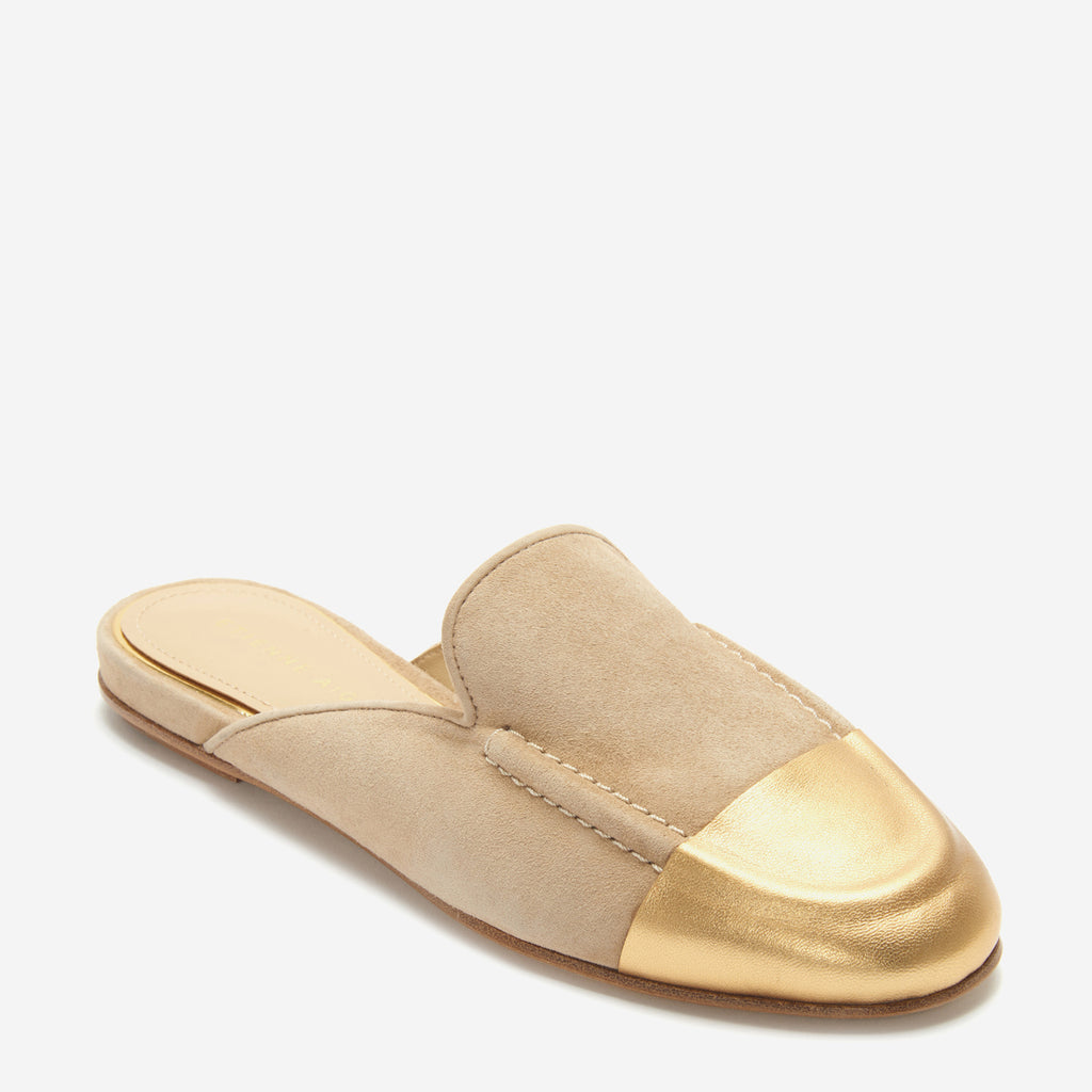 etienne aigner cora flat mule loafer in saharra brown suede with gold nappa leather wrapped toe cap