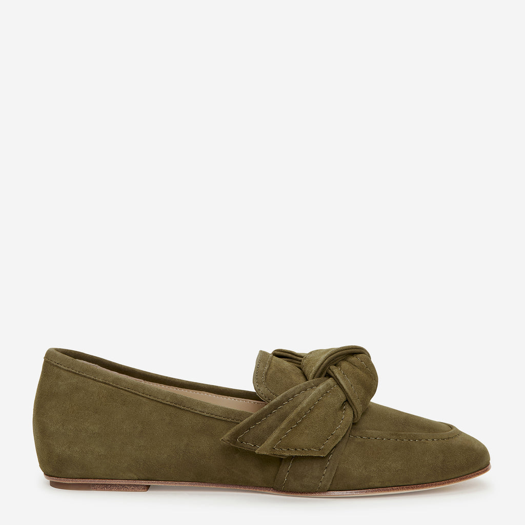 etienne aigner chiara flat loafer with bow detail on vamp in military green