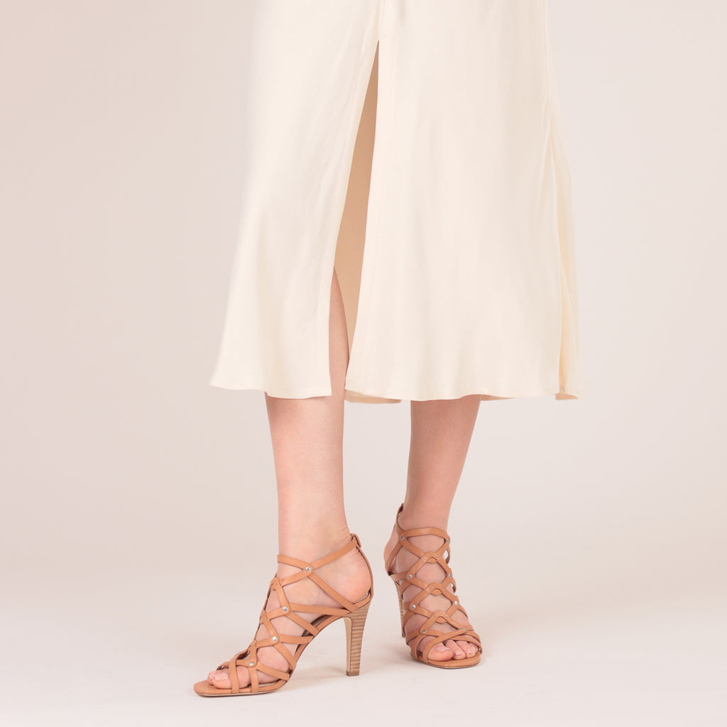 etienne aigner marielle caged heel sandal in camel brown