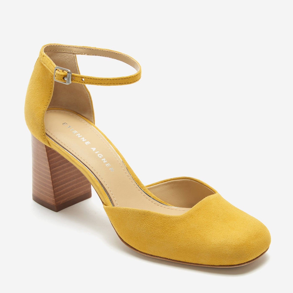 etienne aigner dedra ankle strap pump in saffron yellow