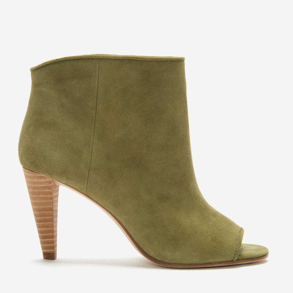 etienne aigner simone slip on peep toe bootie in moss green suede