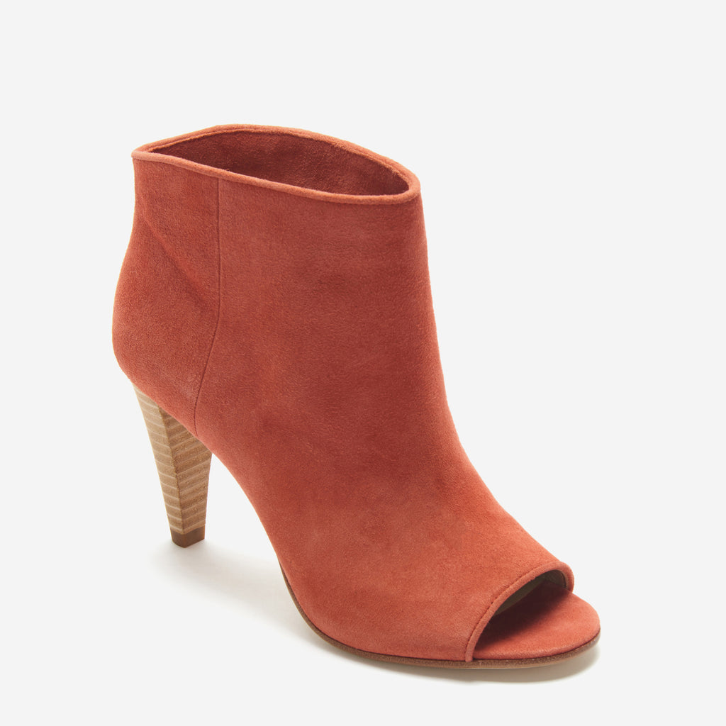 etienne aigner simone slip on peep toe bootie in red orange potters clay suede