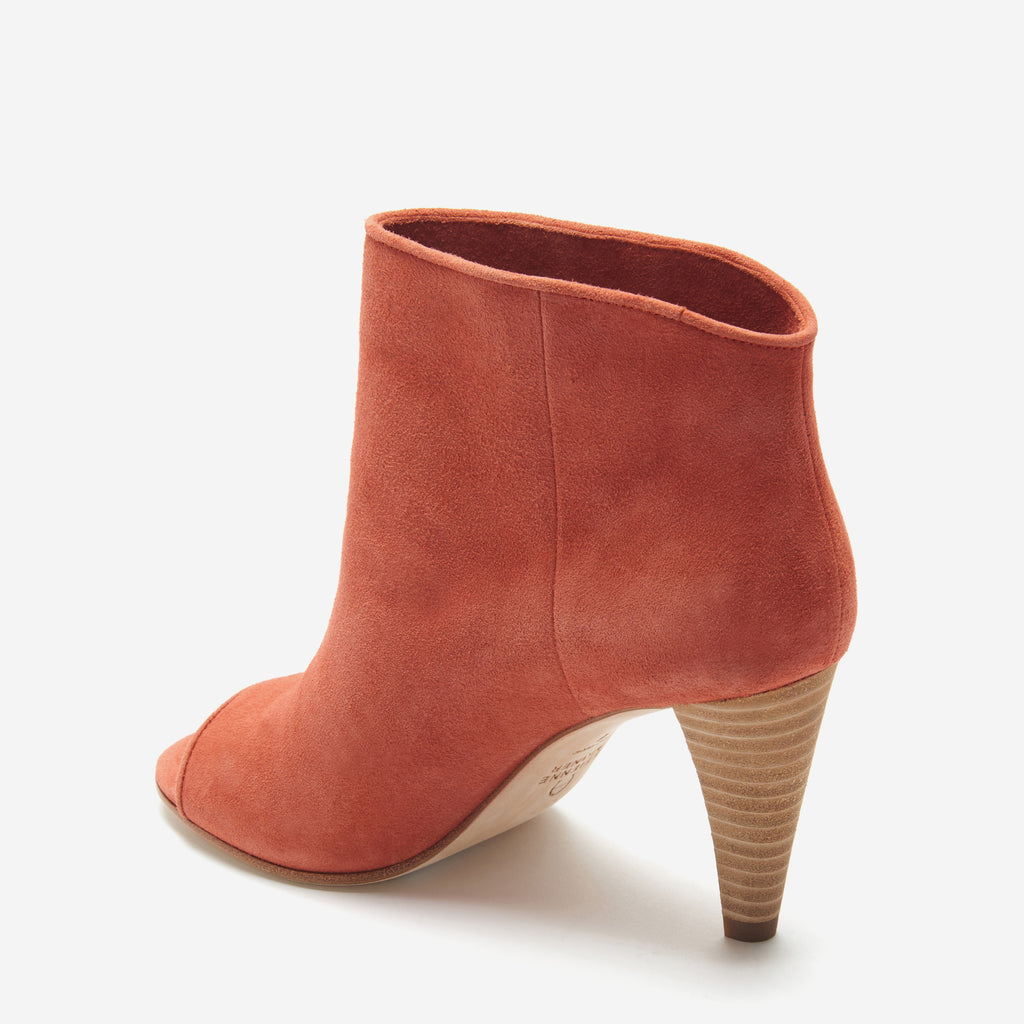 etienne aigner simone peep toe bootie potters clay back angle