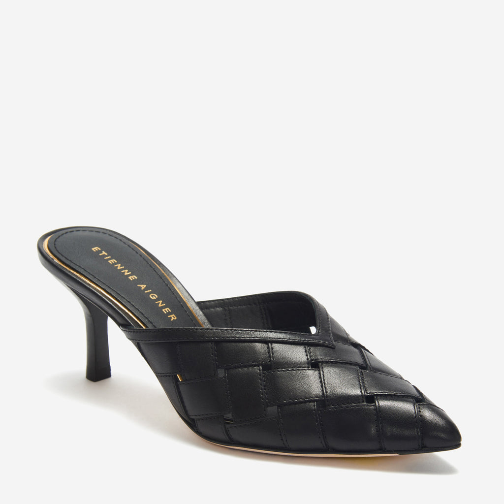 etienne aigner bedford pointed toe heel mule in black