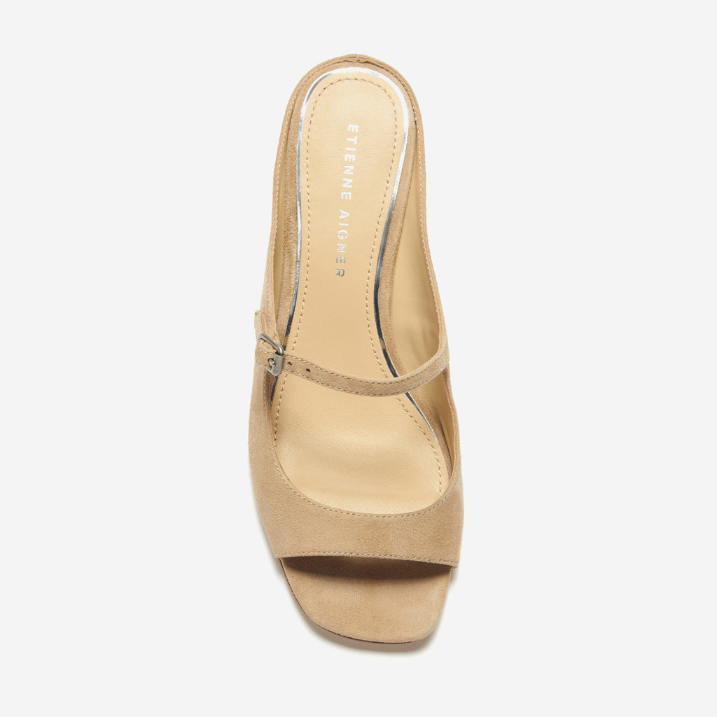 etienne aigner verity peep toe mary jane kitten heel in saharra suede