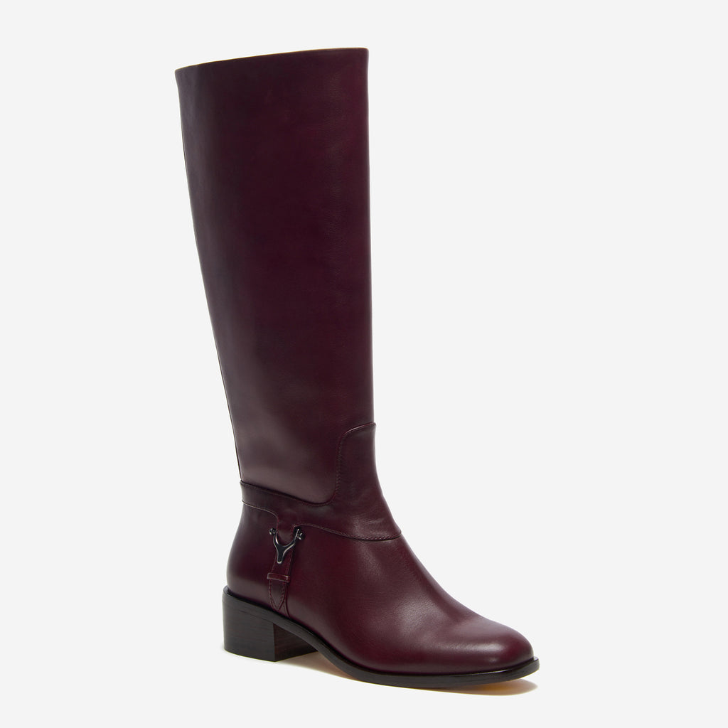 etienne aigner ryker riding boot in cordovan red