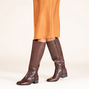 etienne aigner ryker riding boot in dark brown