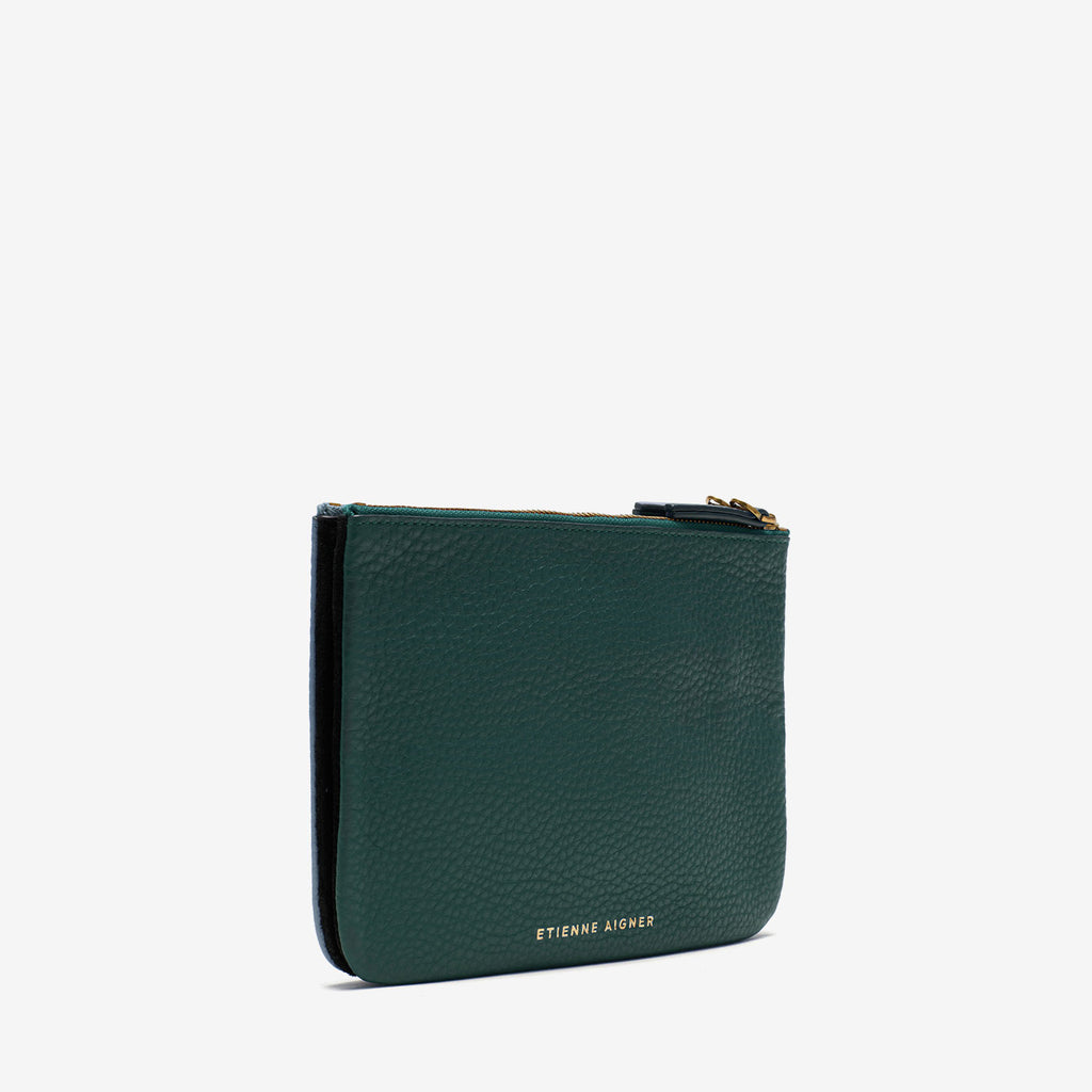 etienne aigner Eva Double Zip Pouch in green leather