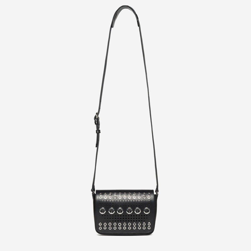 etienne aigner chrissi silver grommet detail crossbody in black vachetta