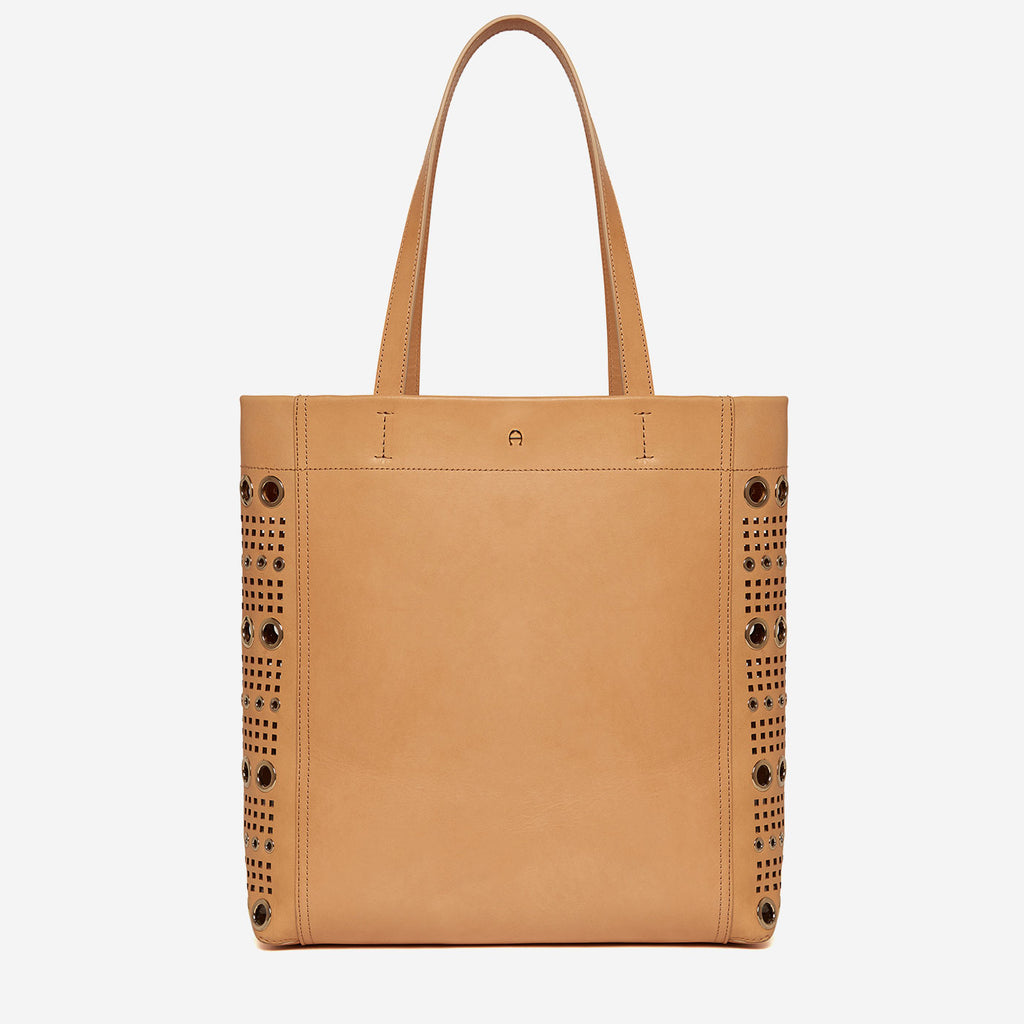etienne aigner chrissi gold grommet detail tote in natural vachetta