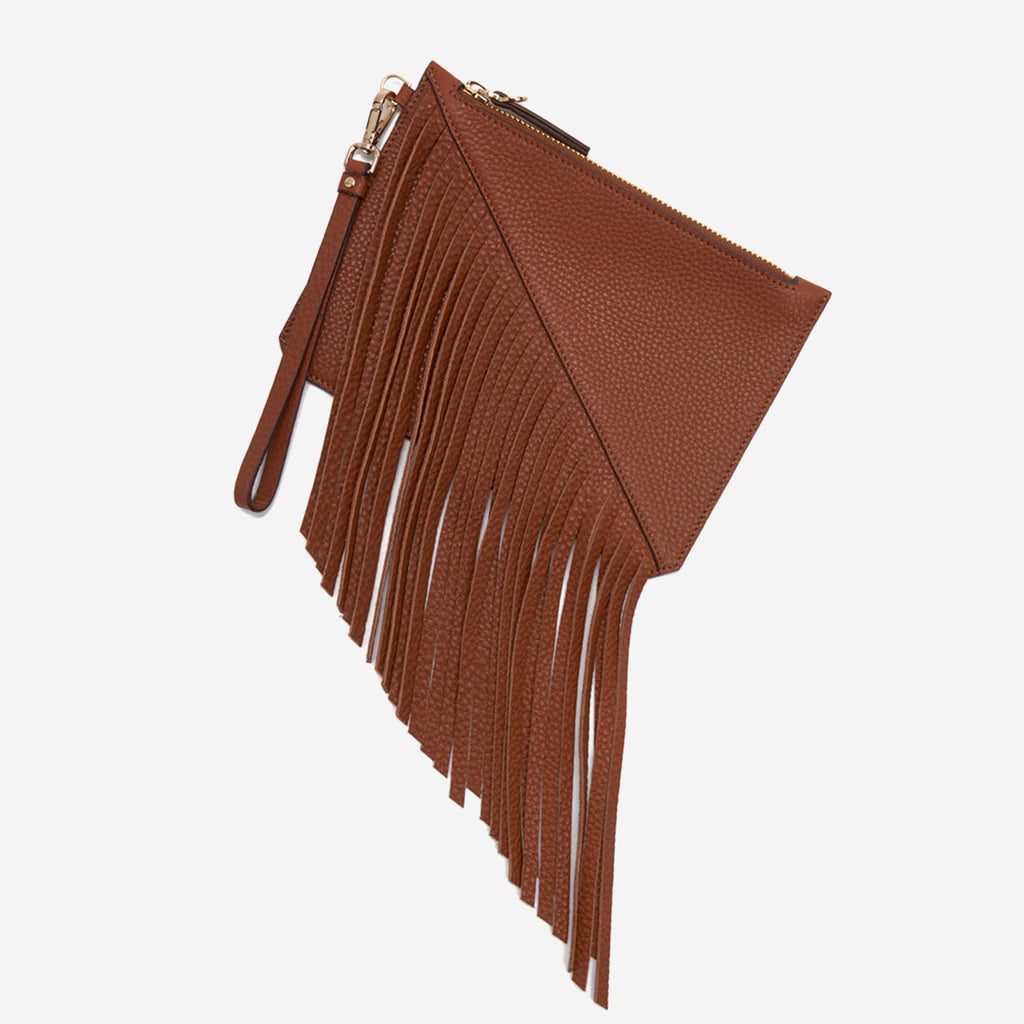 etienne aigner moda small fringe pouch in cognac