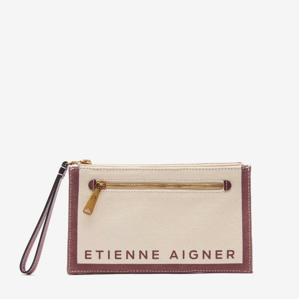 etienne aigner faye convertible logo wristlet crossbody in natural canvas with antic cordovan red accents