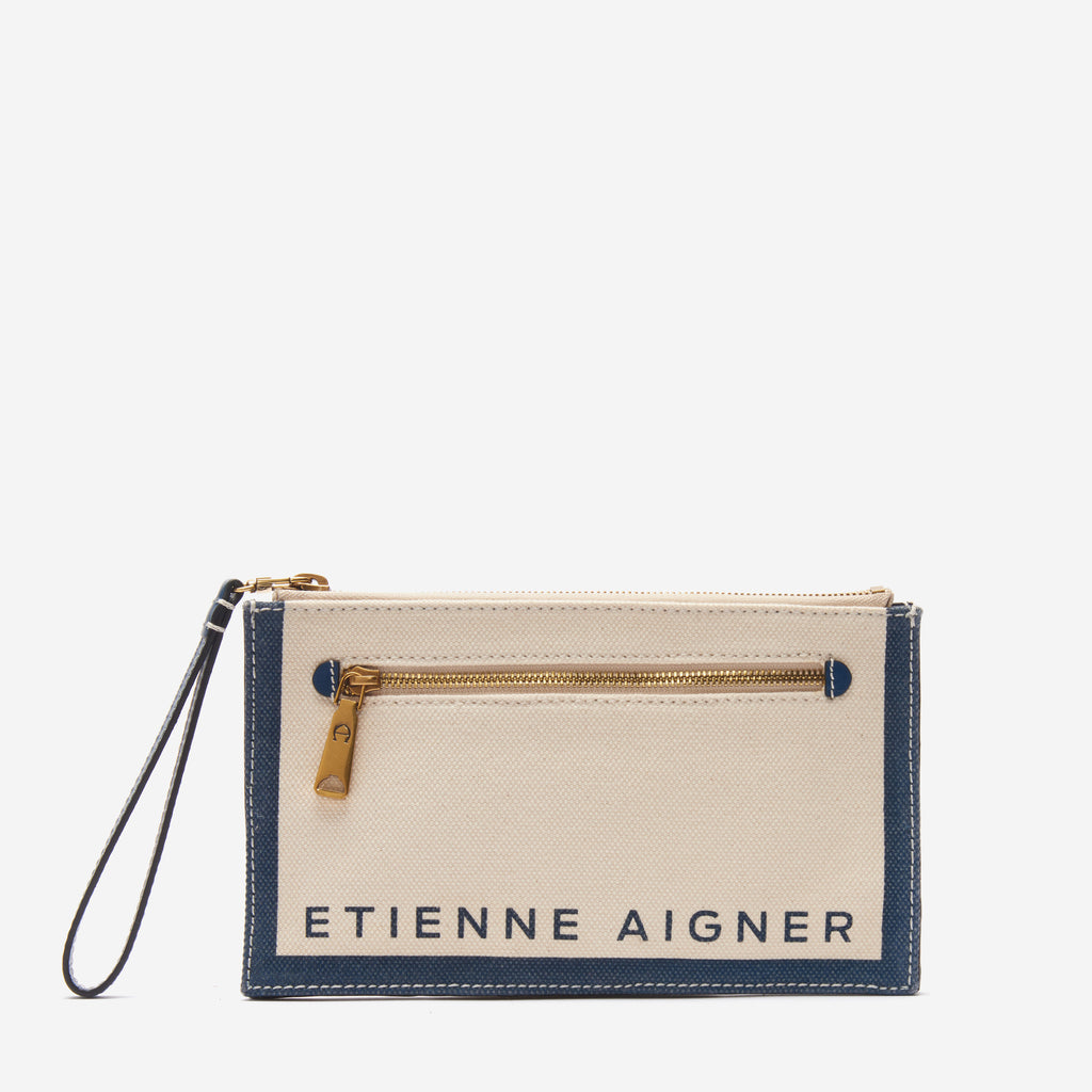 etienne aigner faye convertible logo wristlet crossbody in natural canvas with sailor blue accents