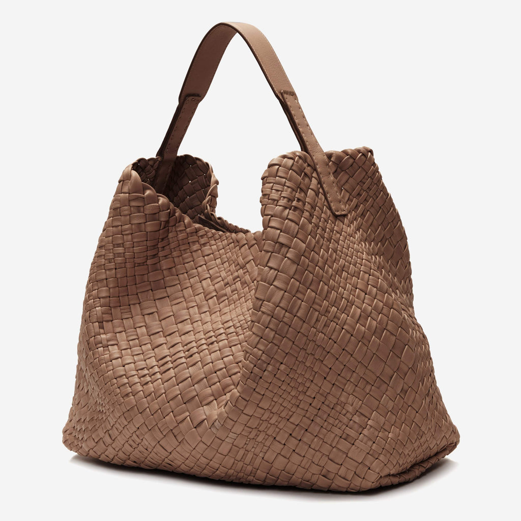 etienne aigner irena woven leather hobo in truffle brown