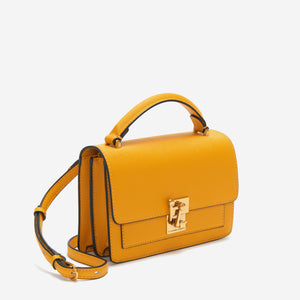 etienne aigner leah heritage clasp top handle crossbody in mango mojito yellow