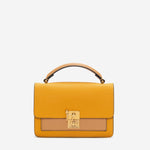 etienne aigner leah heritage clasp top handle crossbody in mango mojito yellow and biscuit brown colorblock