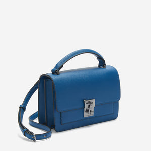 etienne aigner leah heritage clasp top handle crossbody in sailor blue