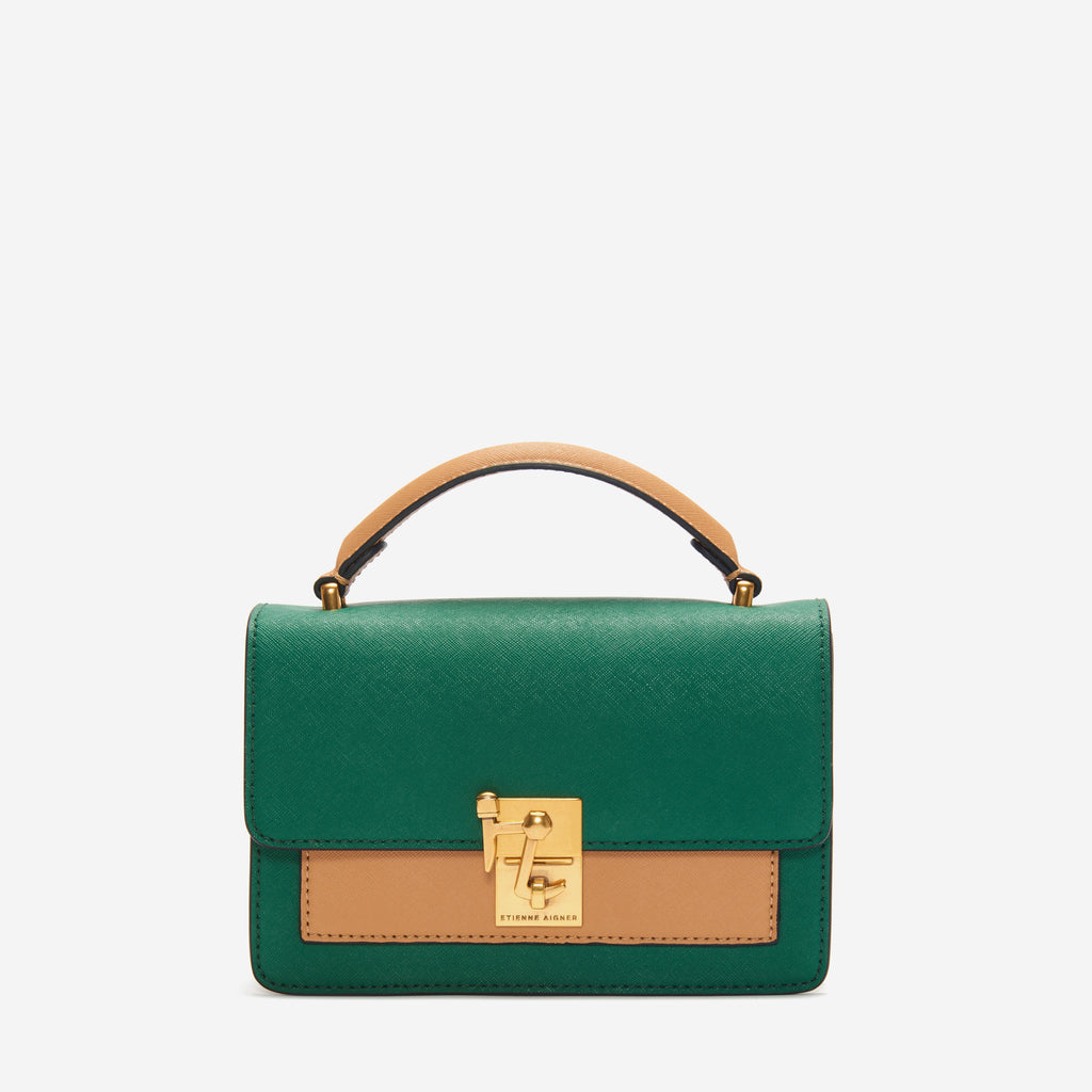 etienne aigner leah heritage clasp top handle crossbody in verdant green and biscuit brown colorblock