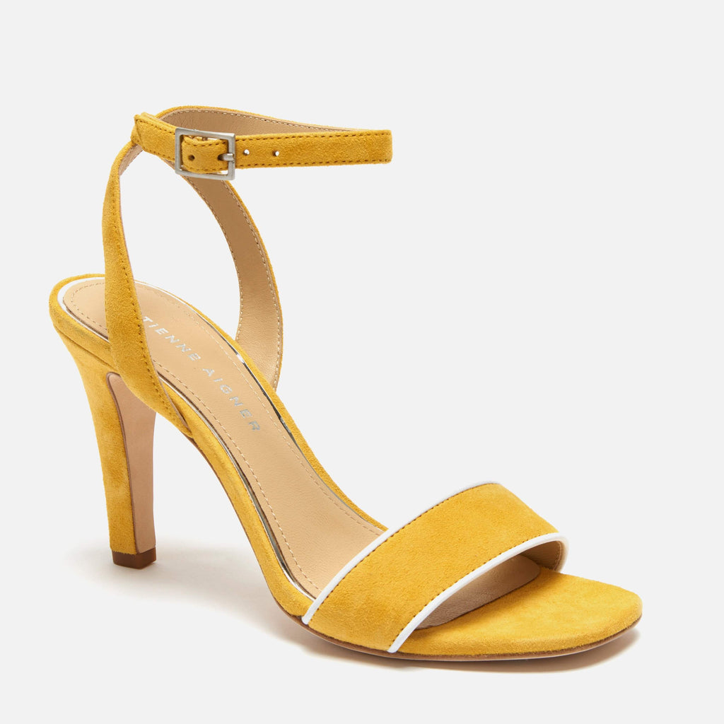 etienne aigner martini ankle strap sandal heel in golden yellow suede
