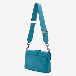 etienne aigner mia structured buckle crossbody in blue