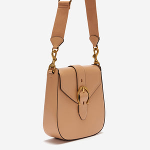 eitenne aigner mia structured buckle shoulder bag in natural beige