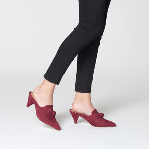 etienne aigner pavana pointed toe cone heel mule in cordovan red