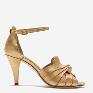 etienne aigner peep toe pump in metallic gold nappa leather