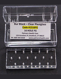 1516 : Clear Plexiglass 16 Hole Bur Blocks with Boxes