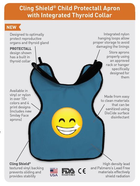 27SMILEY : Cling Shield® Petite/Child Protectall Apron with Neck Collar, Lead-Lined
