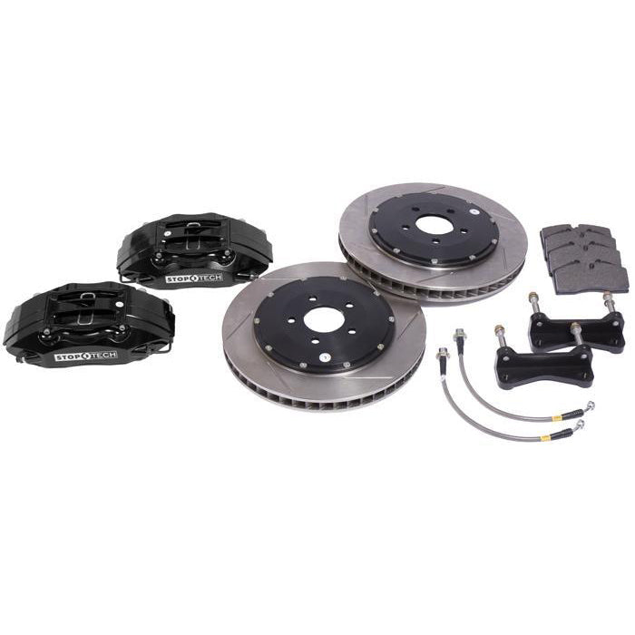 "StopTech Big Brake Kit, 4-piston calipers, 13"" or 14"" rotors, 1994-2004 Mustang, 14"" (355mm), Zinc Plated, Red 83.328.4600-4700-14-ZP-R"