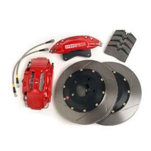 "StopTech Big Brake Kit, 14"" rotors, 4-piston/6-piston calipers, 2005-2014 Mustang, 4-Piston ST-40, Zinc Plated Red 83.330.4700-6700-40-ZP-R"