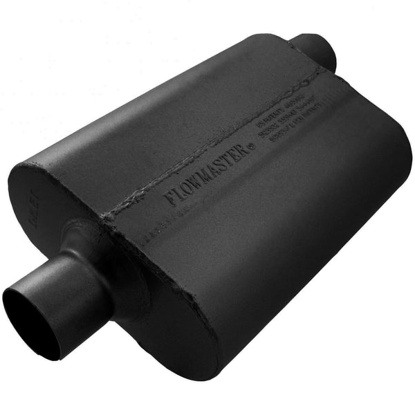 Flowmaster 40 Delta Flow Muffler - 2.50 Center In / 2.50 Offset Out - Aggressive Sound 942542