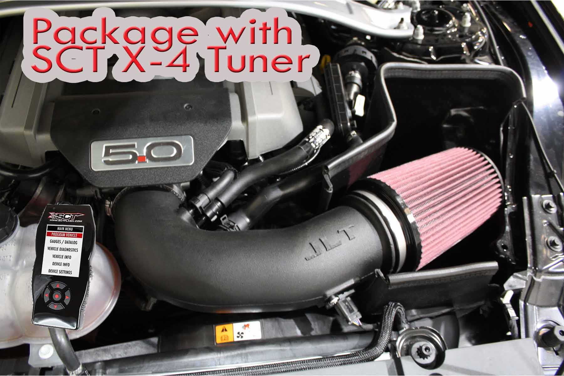 JLT Performance Package: Jlt Cold Air Intake / SCT X4 Tuner (2015-17 Mustang GT), White Dry, Manual, 93 Octane and 91 Octane