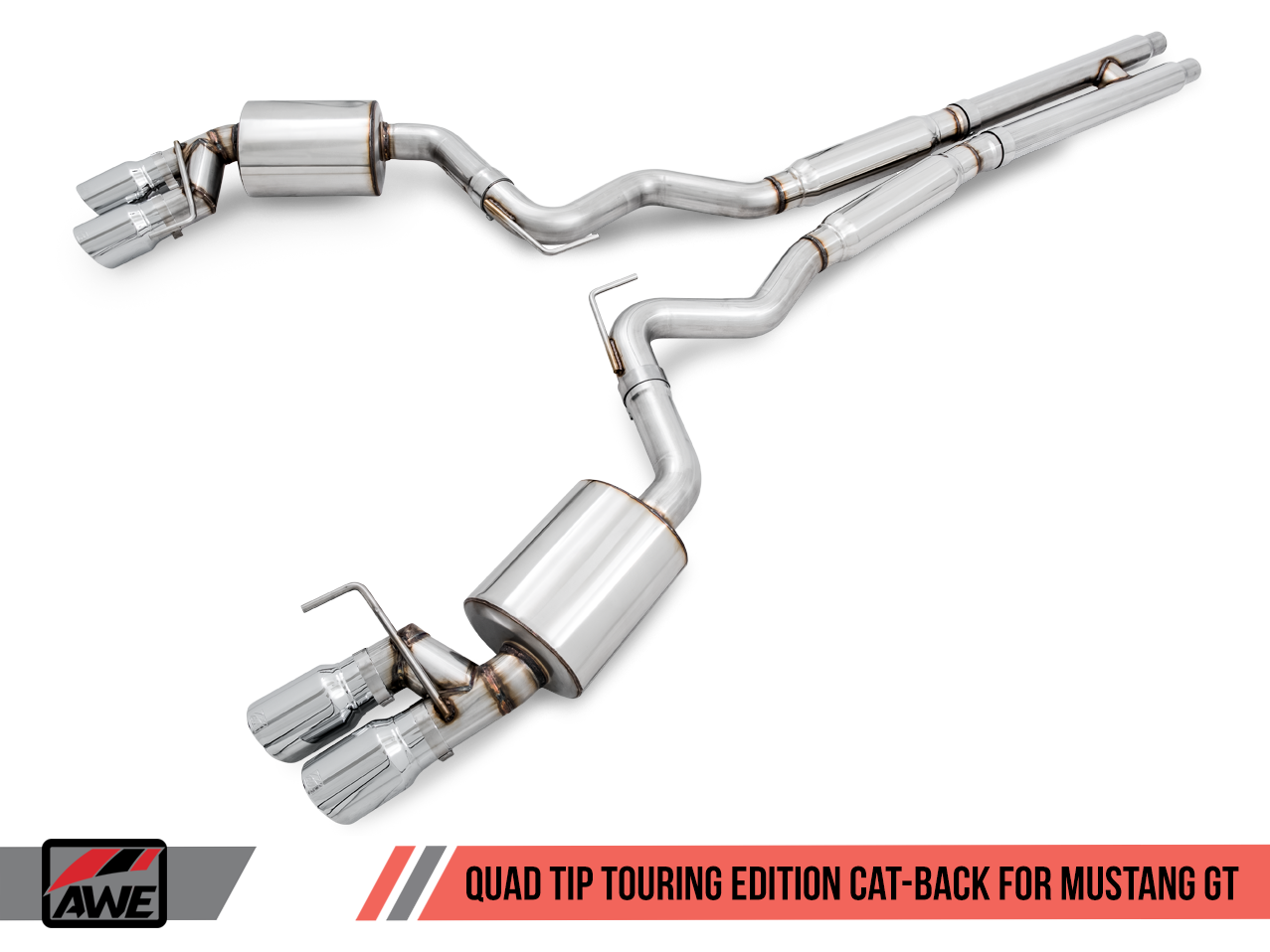 AWE Touring Edition Cat-back Exhaust for 15-17 S550 Mustang GT - Quad Outlet - No Tips (GT350 Valance) 3015-41006