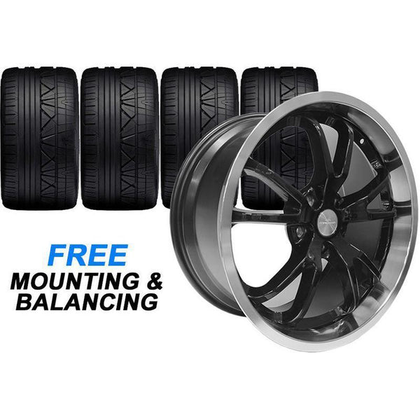 "Steeda 20"" Black Spyder Mustang Wheel & Tire Combo (05-17) 555 121111 B"