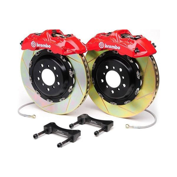 "Brembo 6 Piston Red 14"" Mustang Front Brake Kit - Slotted Rotors (05-14) 344 1M2 8016A2"