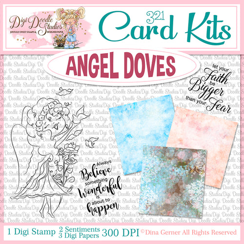 Angel Doves Digi Doodles Card Kit