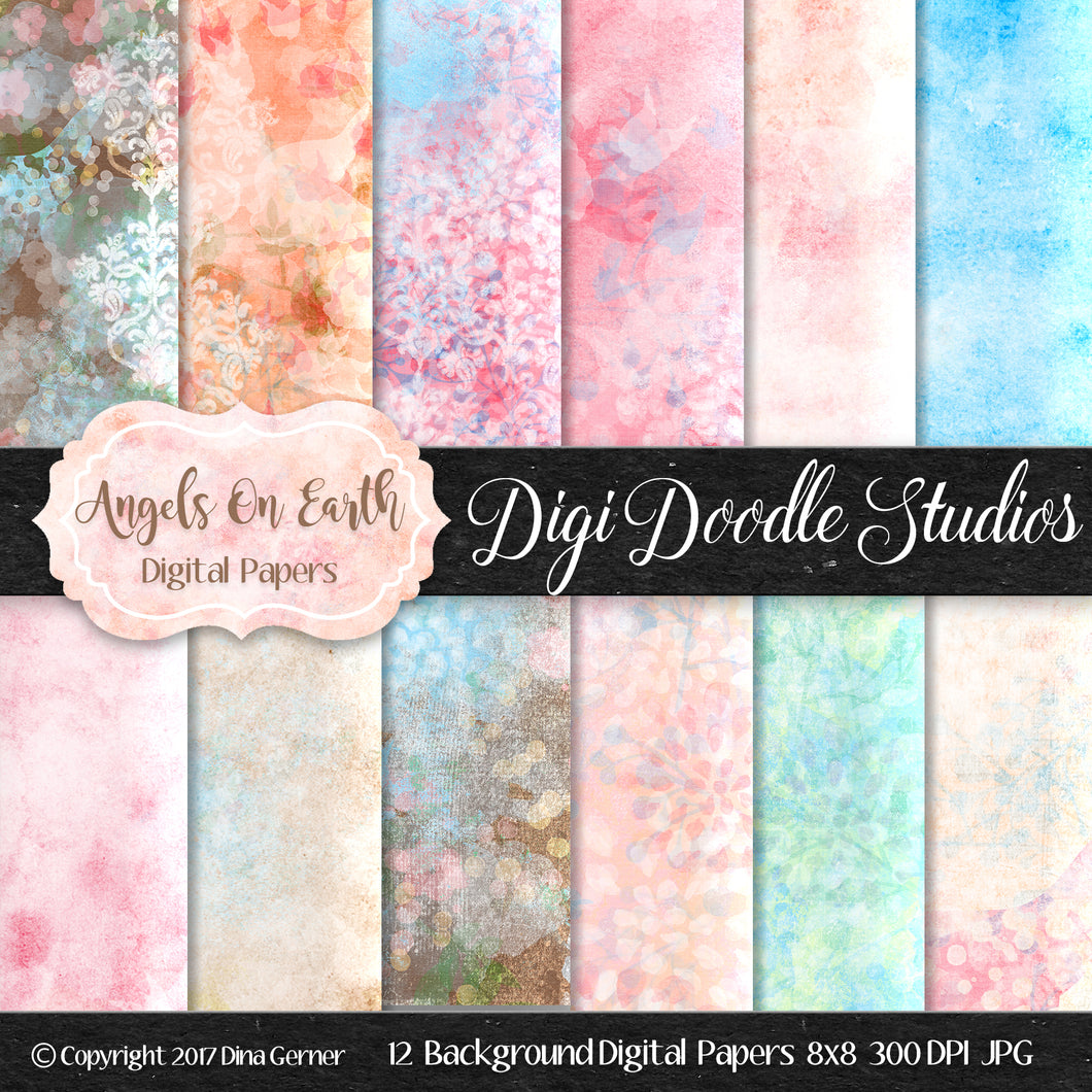 Digi Doodles Angels On Earth 8x8 Digital Paper