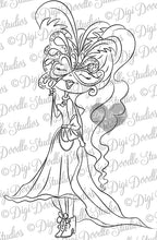 Digi Doodles Aurora Masquerade Ball Digi Stamp Instant Download Digital Stamp