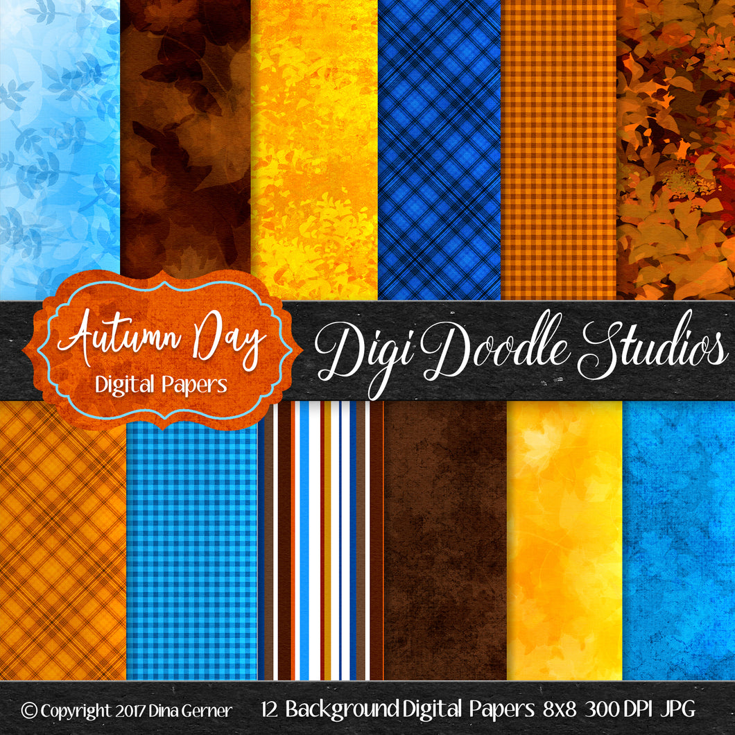 Digi Doodles Autumn Day 8x8 Digital Paper