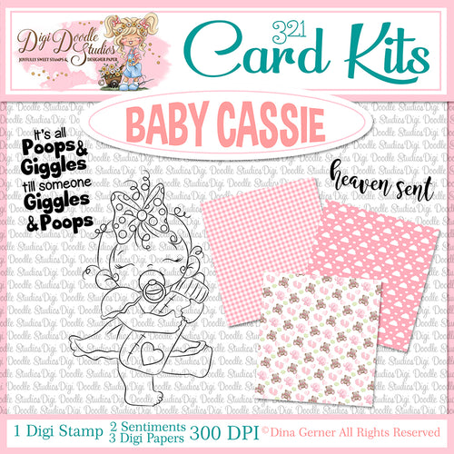 Baby Cassie Digi Doodles Card Kit