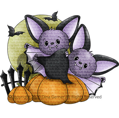 Batty Bats Halloween Digi Doodles Digi Stamp